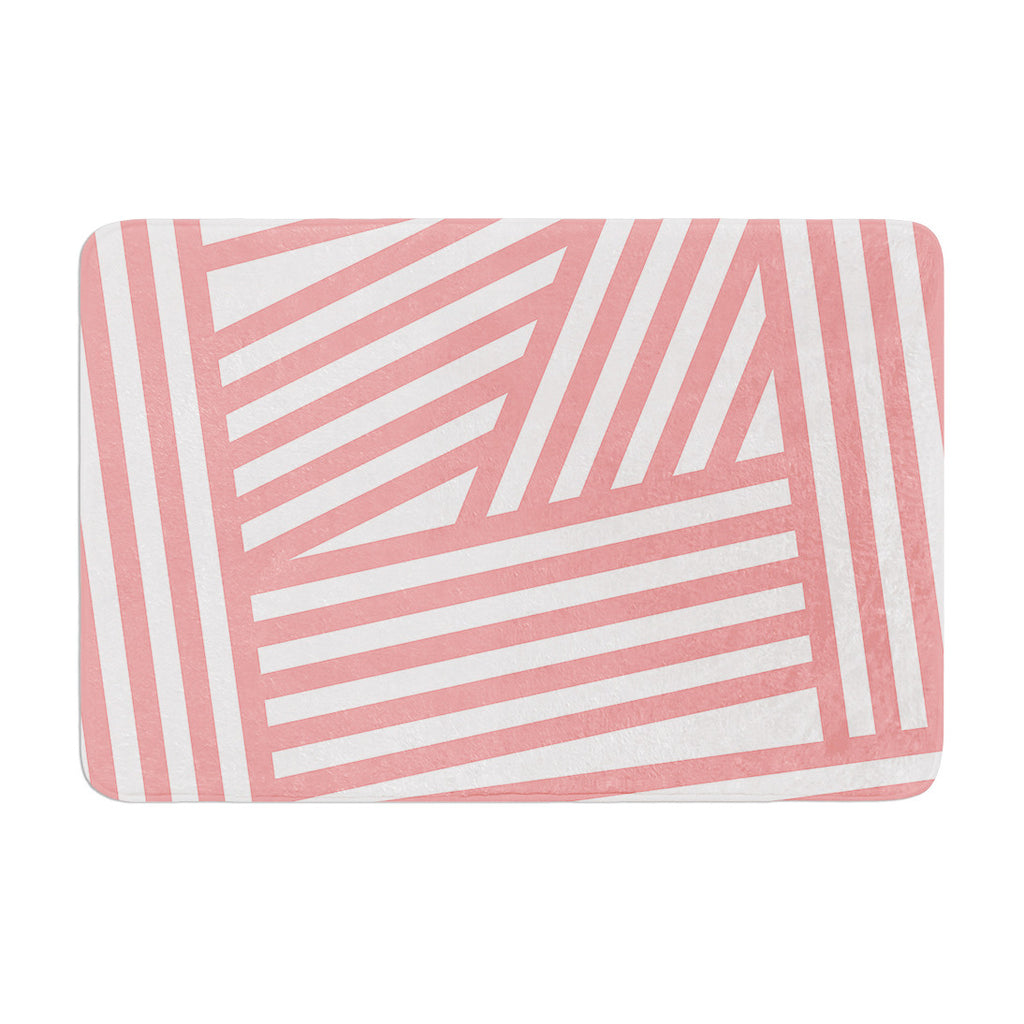 "Louise Machado ""Rose Stripes"" Pink White Memory Foam Bath Mat - KESS InHouse"
