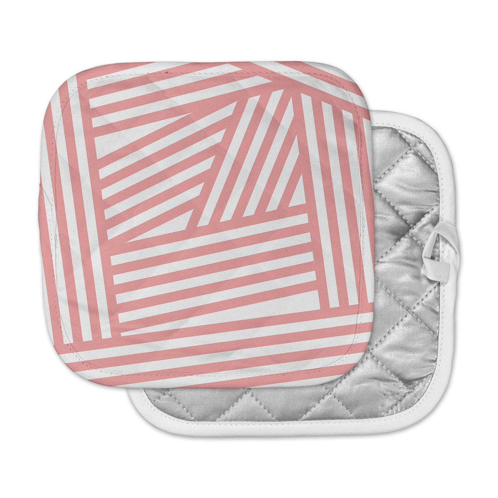 "Louise Machado ""Rose Stripes"" Pink White Pot Holder"