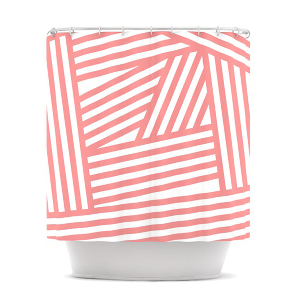 "Louise Machado ""Rose Stripes"" Pink White Shower Curtain - KESS InHouse"