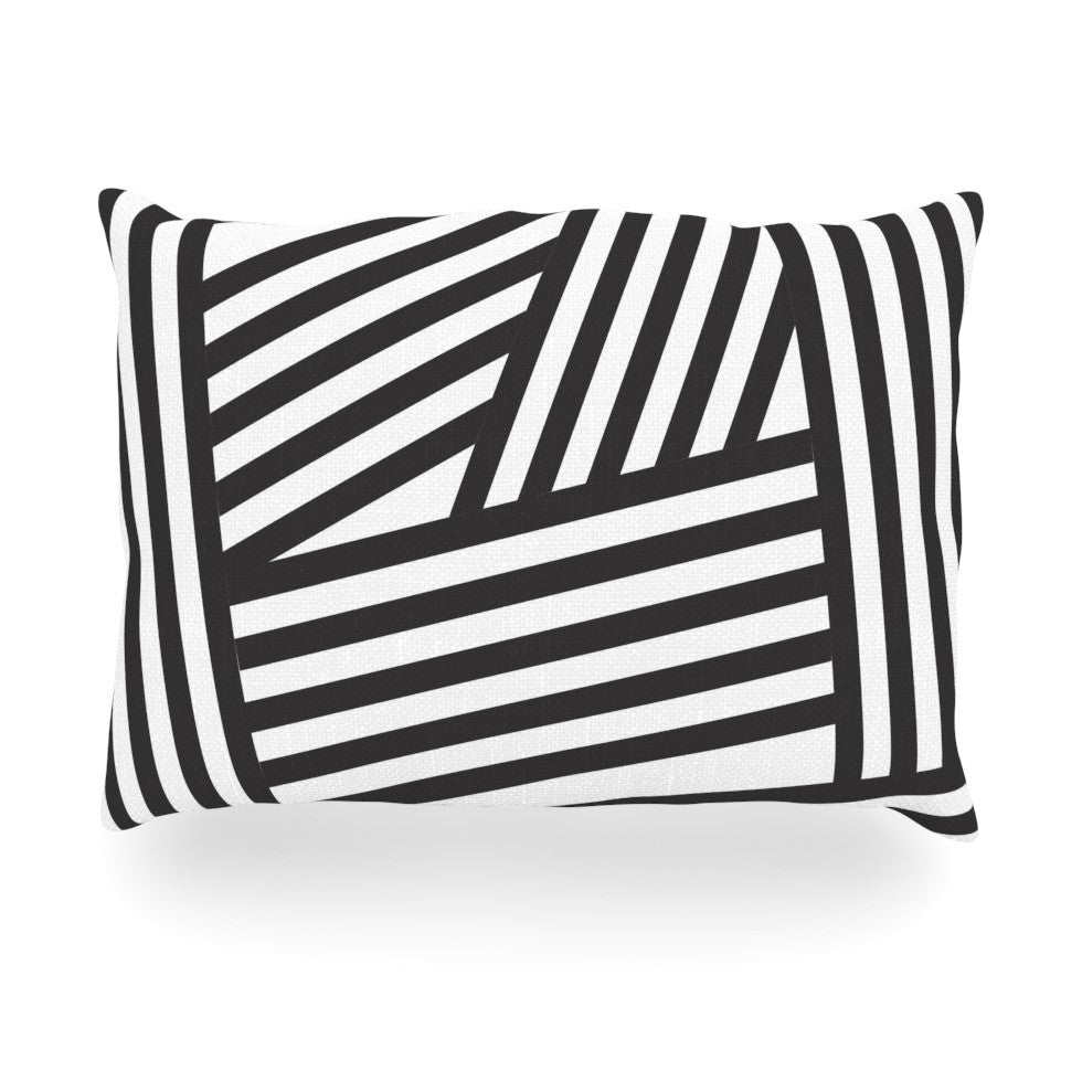 "Louise Machado ""Black Stripes"" Oblong Pillow - KESS InHouse"