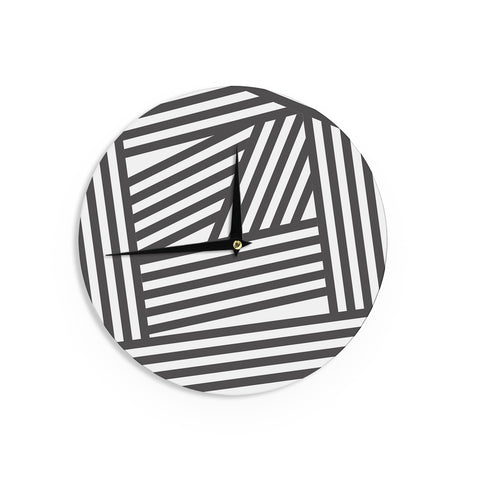 "Louise Machado ""Black Stripes"" Wall Clock - Outlet Item"
