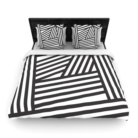 "Louise Machado ""Black Stripes""  Woven Duvet Cover - Outlet Item"