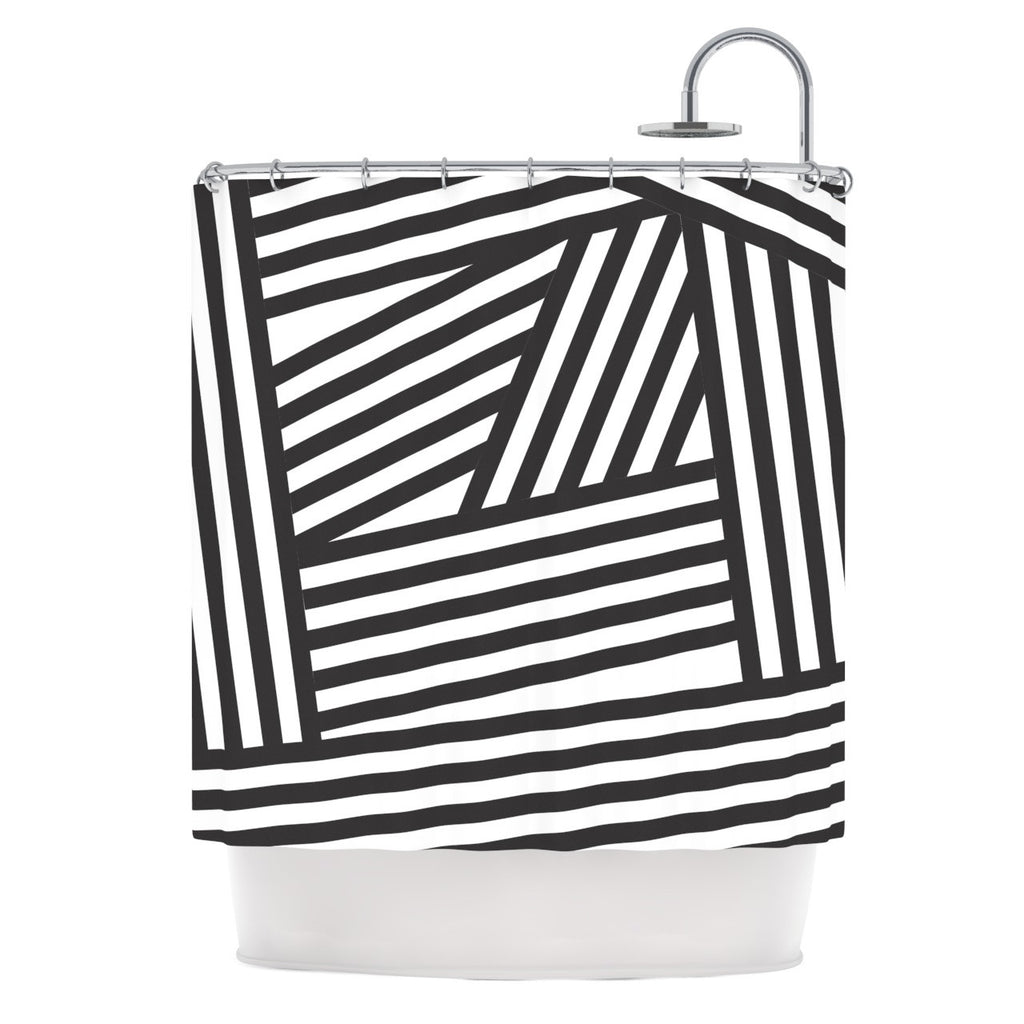 "Louise Machado ""Black Stripes"" Shower Curtain - KESS InHouse"
