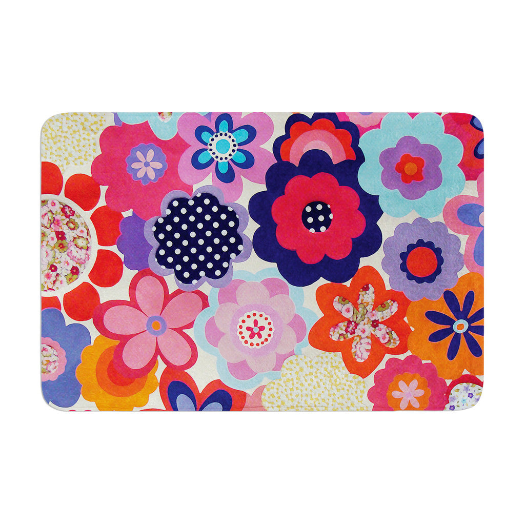 "Louise Machado ""Patchwork Flowers"" Memory Foam Bath Mat - KESS InHouse"