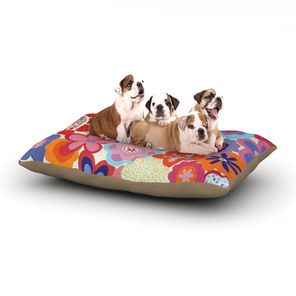 "Louise Machado ""Patchwork Flowers"" Dog Bed - KESS InHouse  - 1"