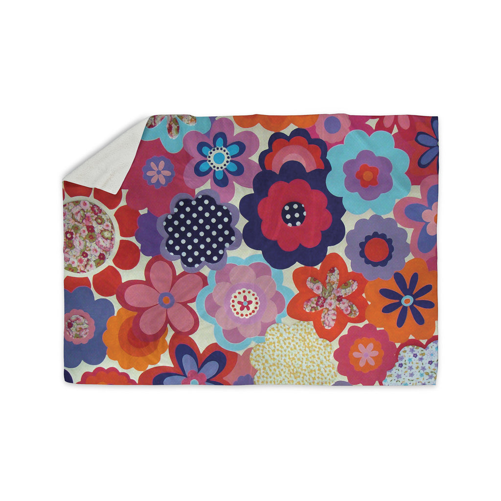 "Louise Machado ""Patchwork Flowers"" Sherpa Blanket - KESS InHouse  - 1"