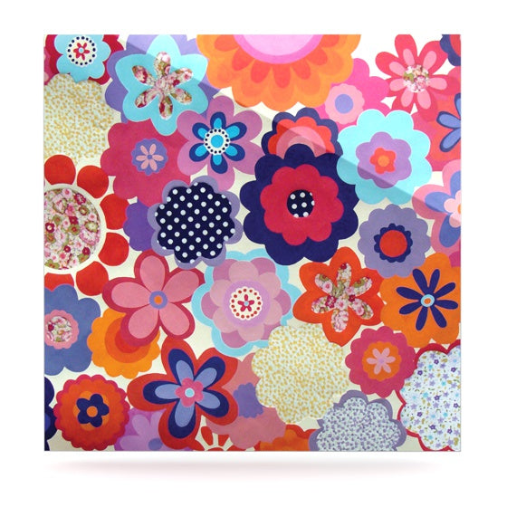 "Louise Machado ""Patchwork Flowers"" Luxe Square Metal Art - KESS InHouse  - 1"