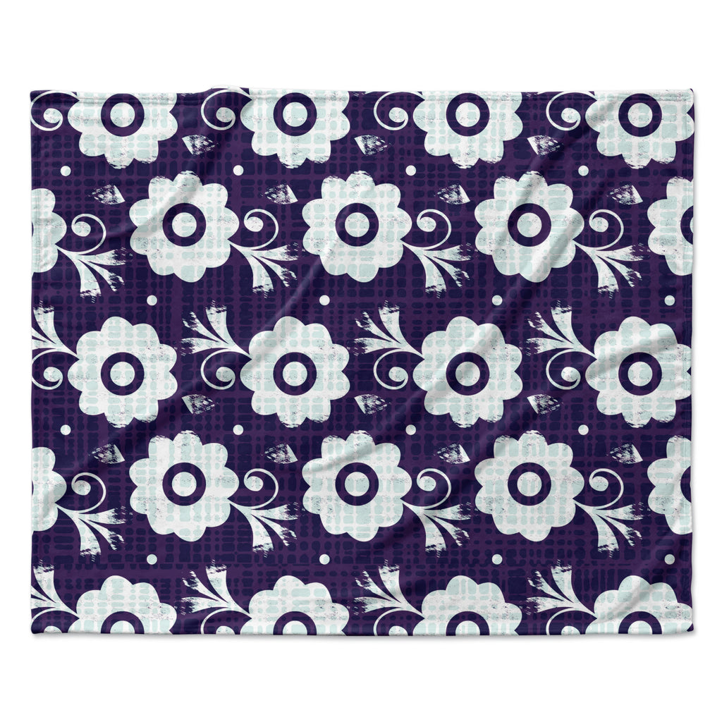 "Louise Machado ""Navy Flower"" Purple White Fleece Throw Blanket"