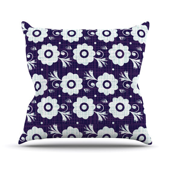 "Louise Machado ""Navy Flower"" Purple White Outdoor Throw Pillow - KESS InHouse  - 1"