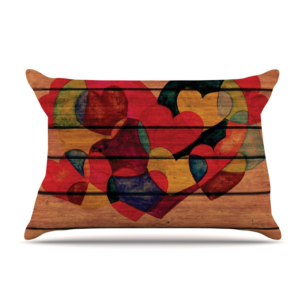 "Louise Machado ""Wooden Heart"" Pillow Sham - KESS InHouse"