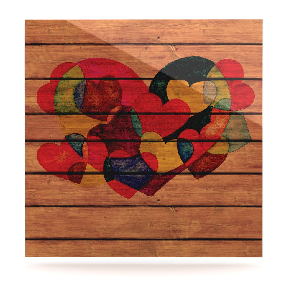 "Louise Machado ""Wooden Heart"" Luxe Square Panel - KESS InHouse  - 1"