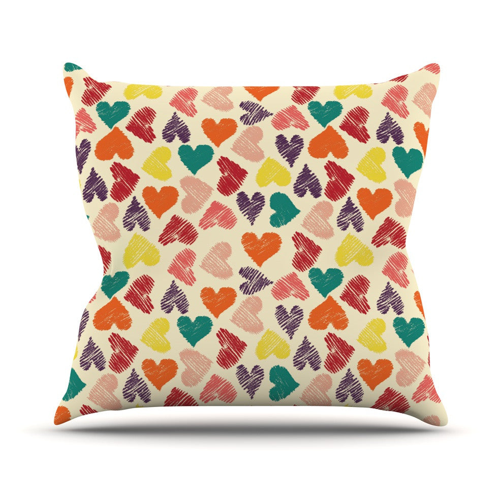 "Louise Machado ""Little Hearts"" Throw Pillow - KESS InHouse  - 1"
