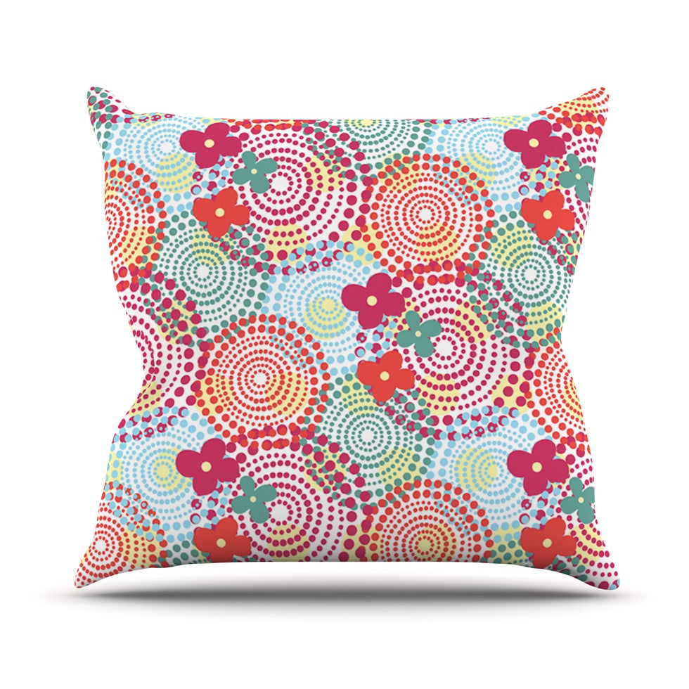 "Louise Machado ""Balls"" Red Blue Outdoor Throw Pillow - KESS InHouse  - 1"