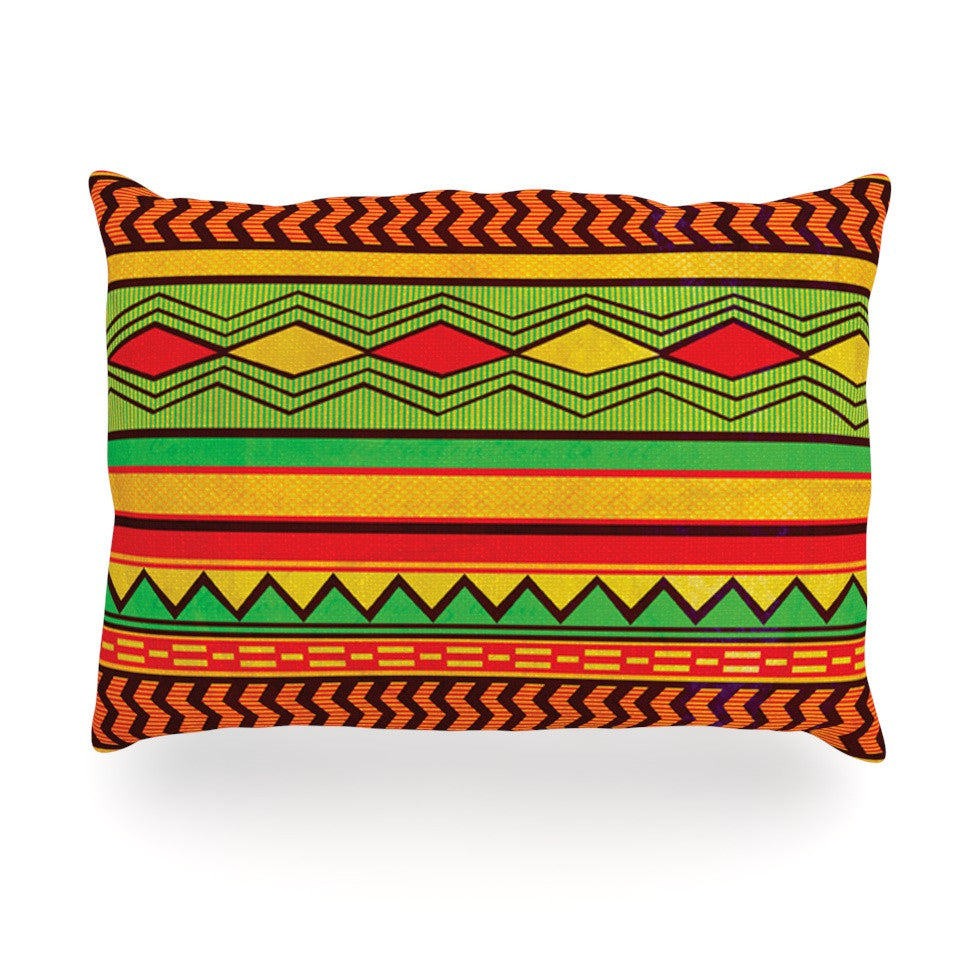 "Louise Machado ""Egyptian"" Red Orange Oblong Pillow - KESS InHouse"