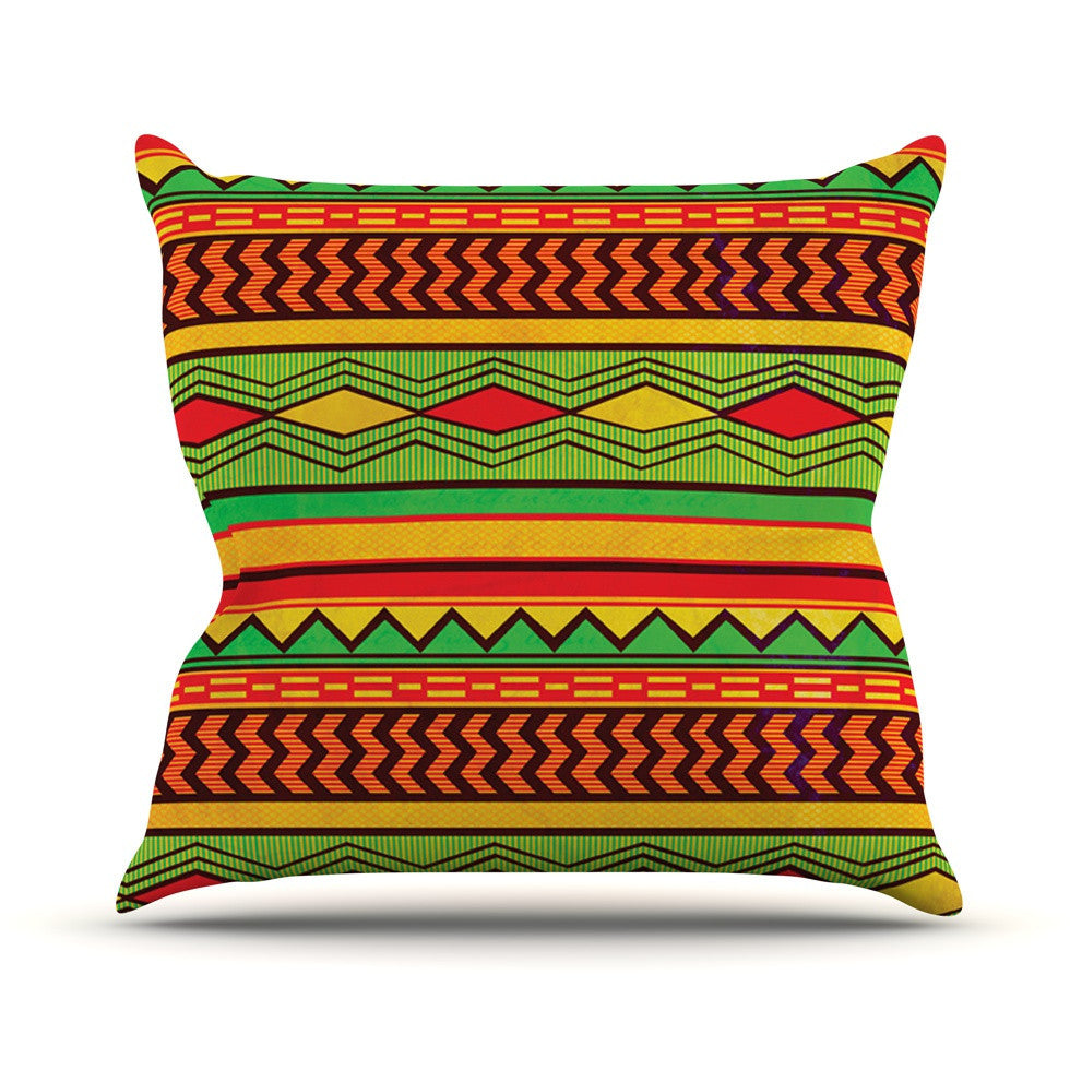 "Louise Machado ""Egyptian"" Red Orange Outdoor Throw Pillow - KESS InHouse  - 1"