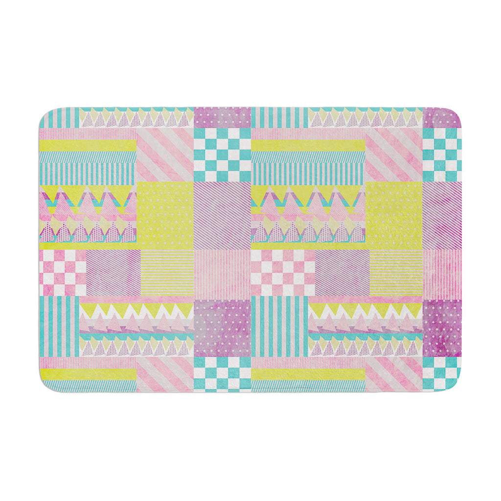 "Louise Machado ""Patchwork"" Purple Green Memory Foam Bath Mat - KESS InHouse"