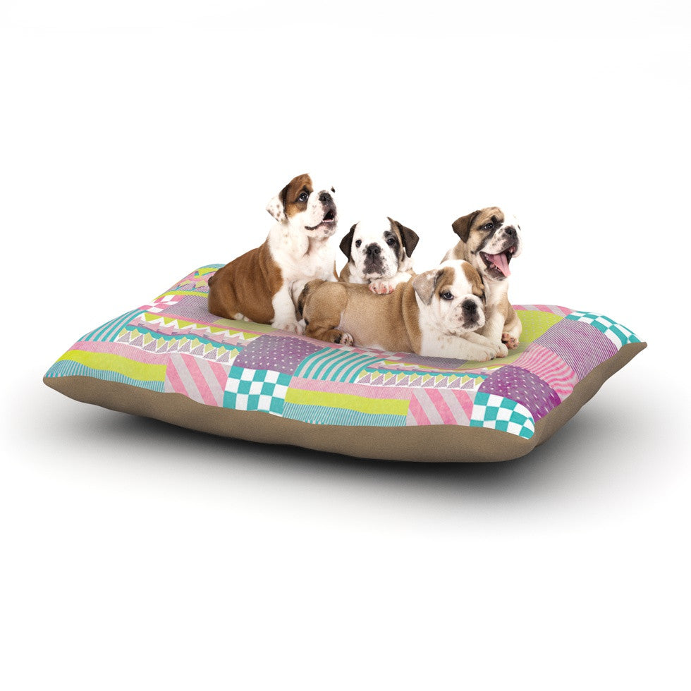 "Louise Machado ""Patchwork"" Purple Green Dog Bed - KESS InHouse  - 1"