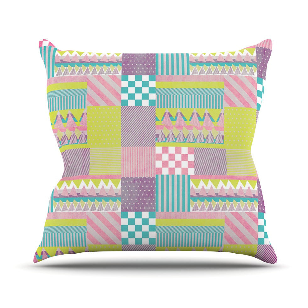 "Louise Machado ""Patchwork"" Purple Green Outdoor Throw Pillow - KESS InHouse  - 1"