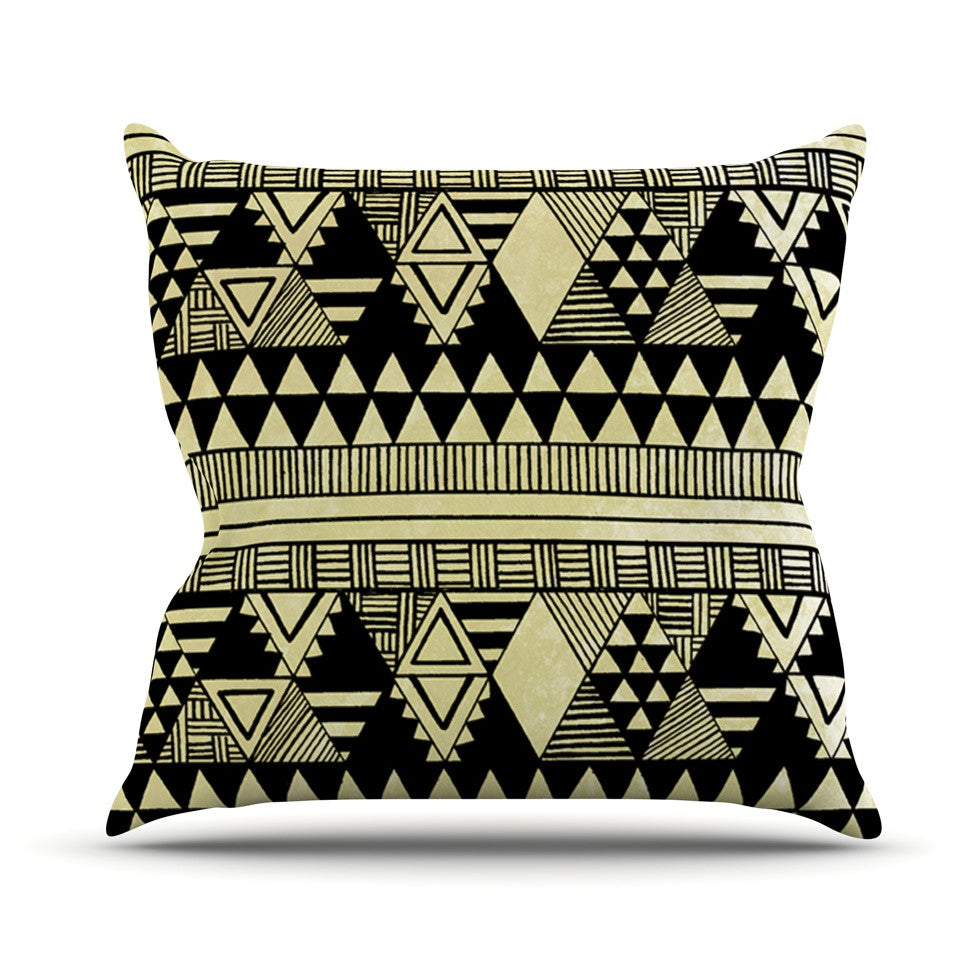 "Louise Machado ""Ethnic Chic"" Tan Black Outdoor Throw Pillow - KESS InHouse  - 1"