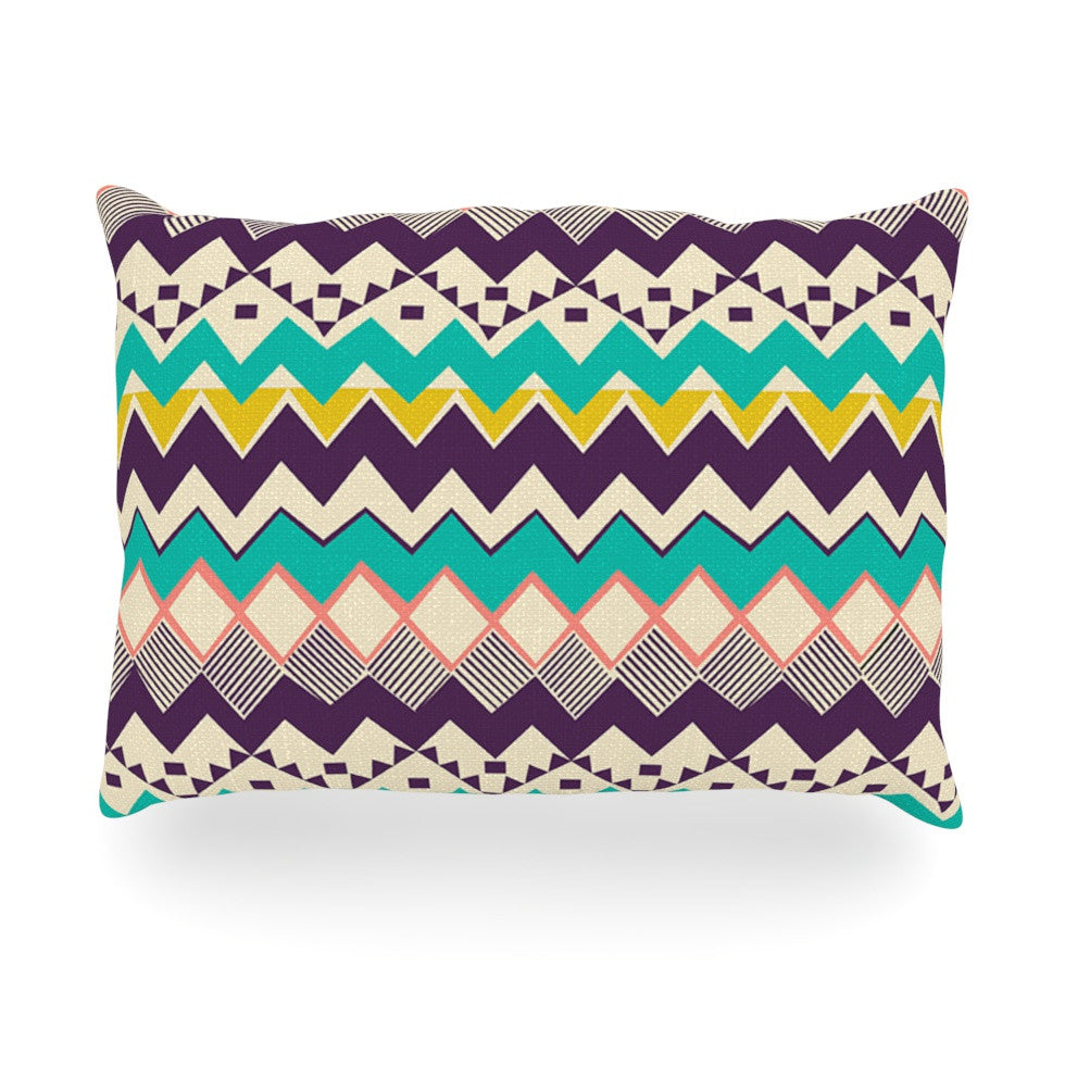 "Louise Machado ""Ethnic Color"" Teal Purple Oblong Pillow - KESS InHouse"