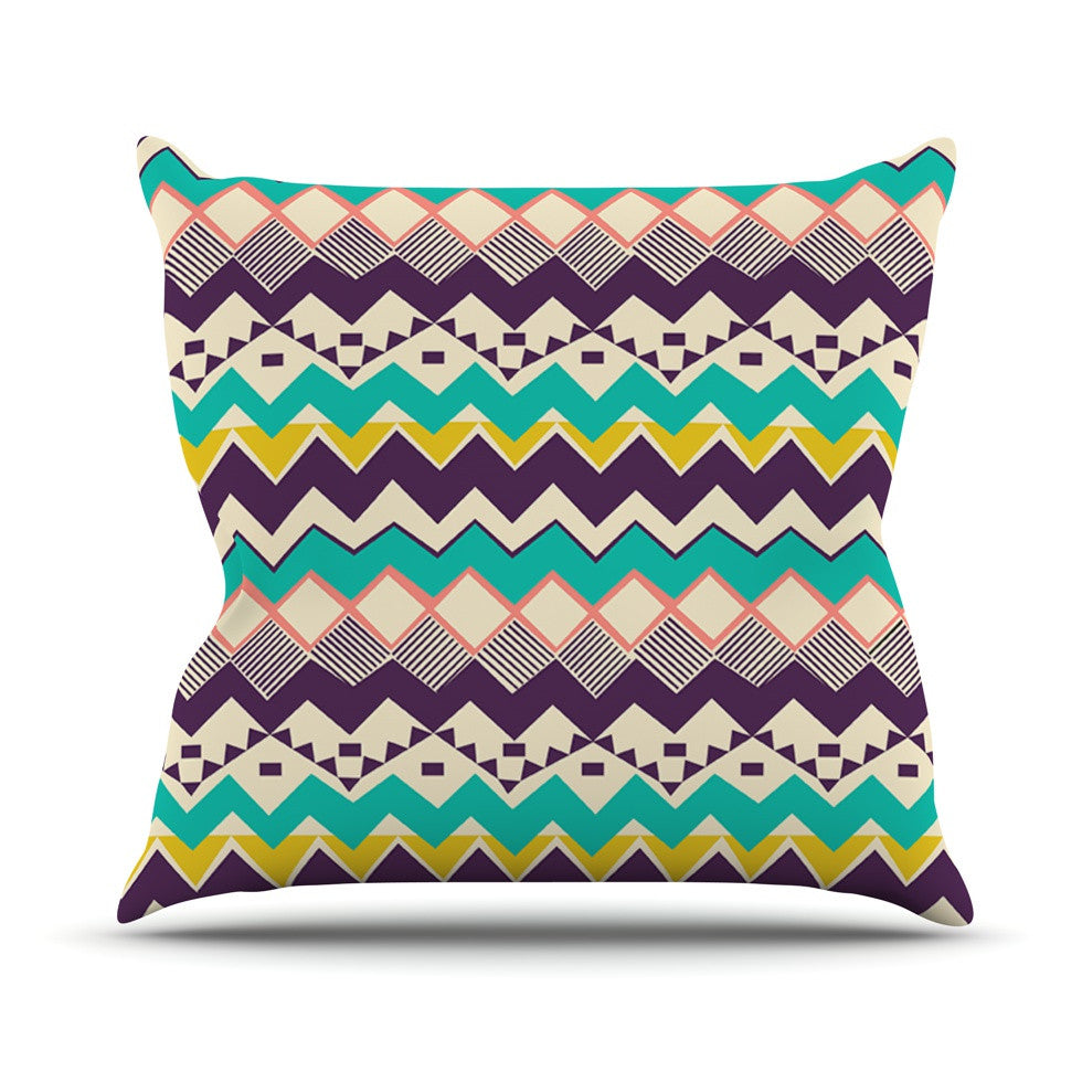 "Louise Machado ""Ethnic Color"" Teal Purple Outdoor Throw Pillow - KESS InHouse  - 1"