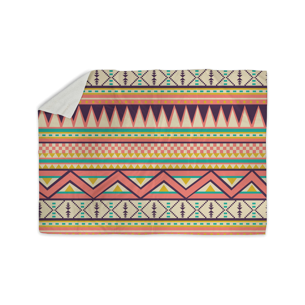"Louise Machado ""Ethnic Love"" Tribal Geometric Sherpa Blanket - KESS InHouse  - 1"