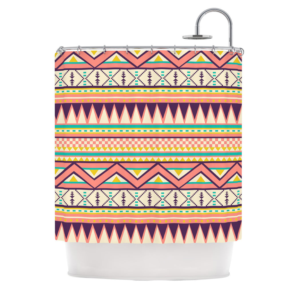 "Louise Machado ""Ethnic Love"" Tribal Geometric Shower Curtain - KESS InHouse"