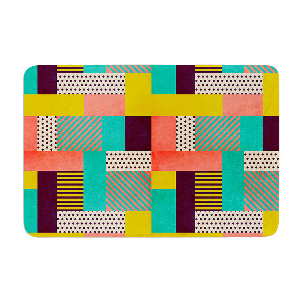 "Louise Machado ""Geometric Love"" Pattern Abstract Memory Foam Bath Mat - KESS InHouse"