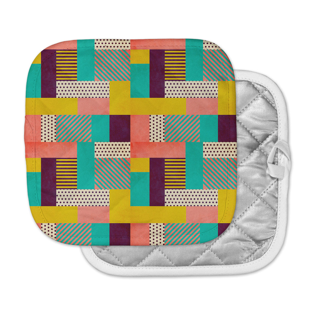 "Louise Machado ""Geometric Love"" Pattern Abstract Pot Holder"
