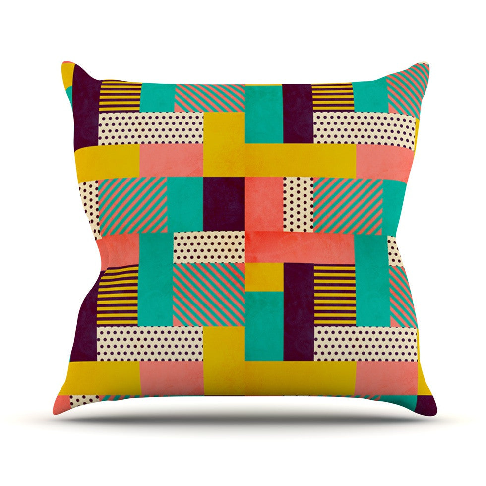 "Louise Machado ""Geometric Love"" Pattern Abstract Outdoor Throw Pillow - KESS InHouse  - 1"