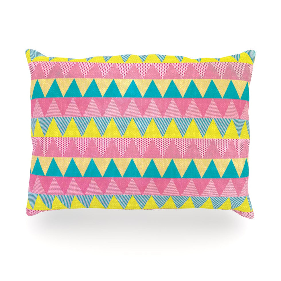 "Louise Machado ""Triangles"" Yellow Pink Oblong Pillow - KESS InHouse"