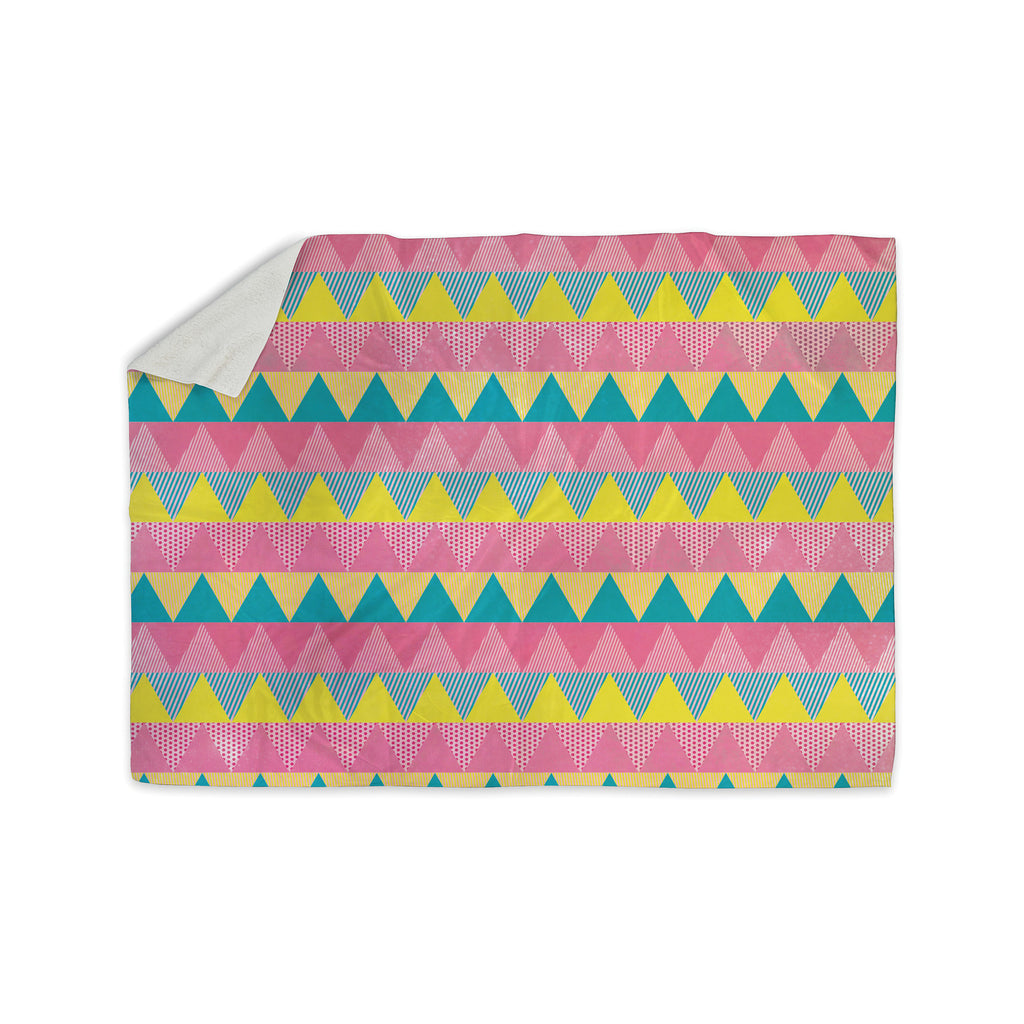 "Louise Machado ""Triangles"" Yellow Pink Sherpa Blanket - KESS InHouse  - 1"