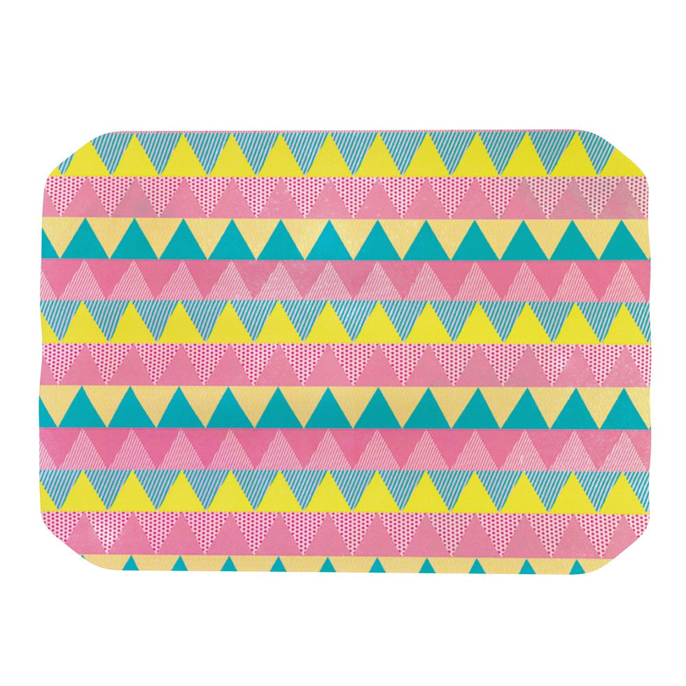 "Louise Machado ""Triangles"" Yellow Pink Place Mat - KESS InHouse"