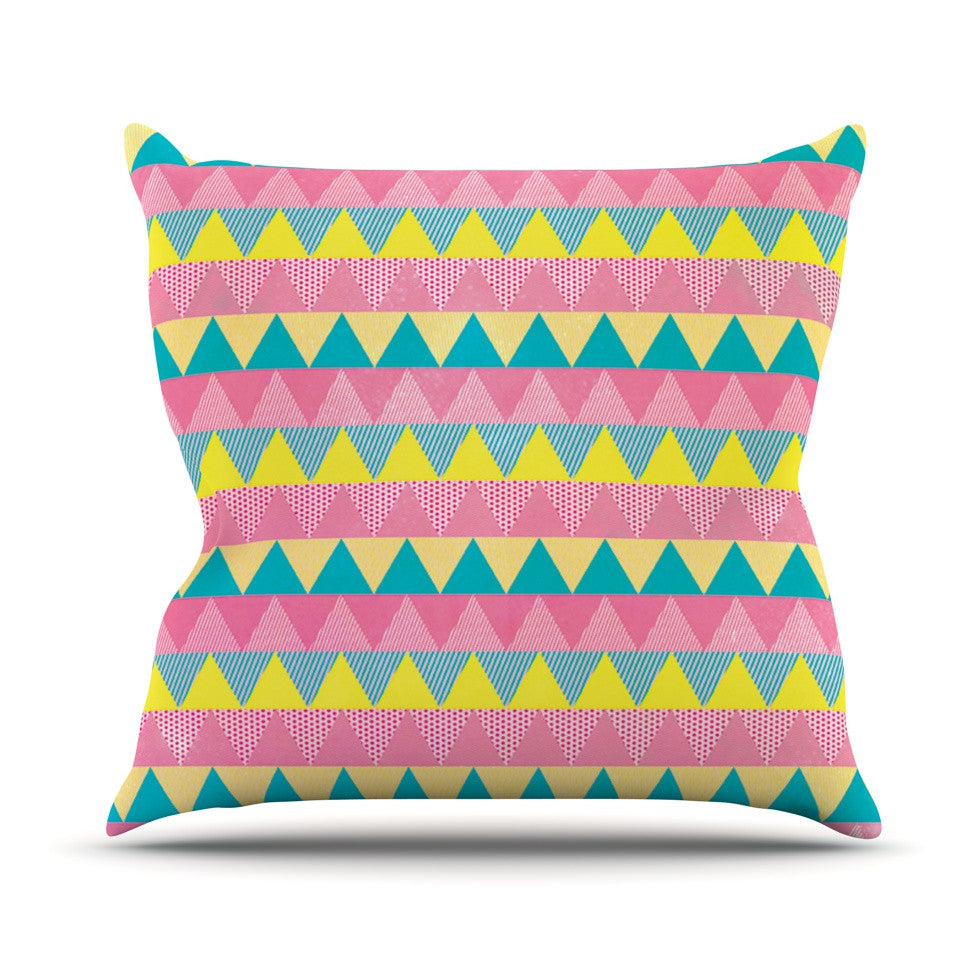 "Louise Machado ""Triangles"" Yellow Pink Outdoor Throw Pillow - KESS InHouse  - 1"