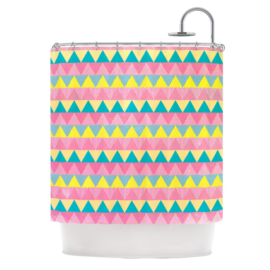 "Louise Machado ""Triangles"" Yellow Pink Shower Curtain - KESS InHouse"