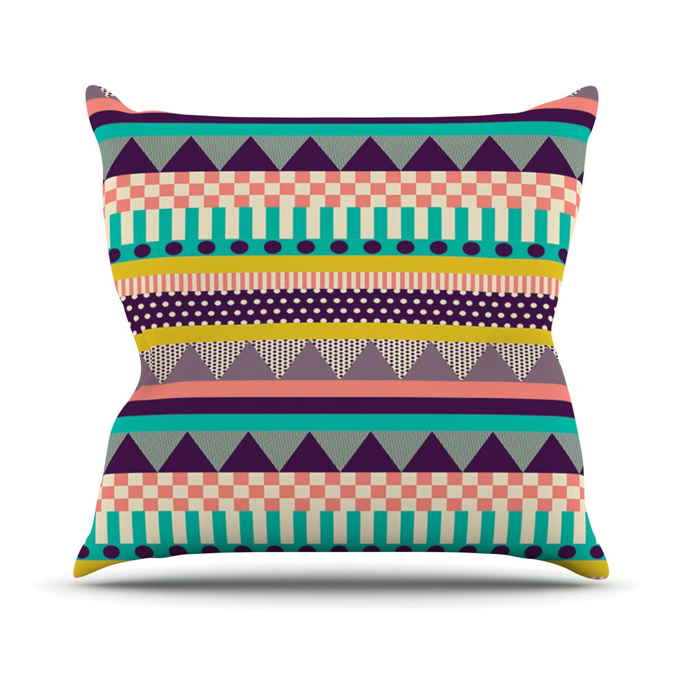 "Louise Machado ""Decorative Stripes"" Teal Pink Throw Pillow - KESS InHouse  - 1"