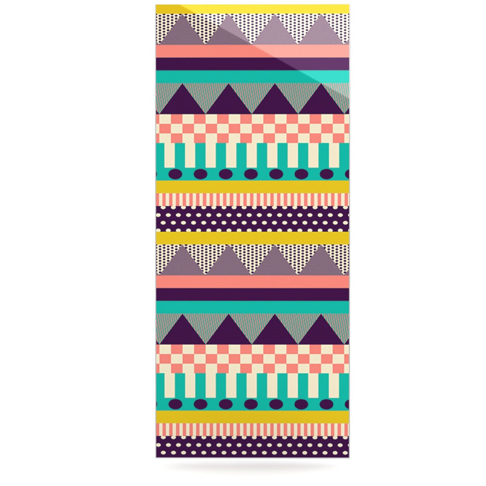 "Louise Machado ""Decorative Stripes"" Teal Pink Luxe Rectangle Panel - KESS InHouse  - 1"