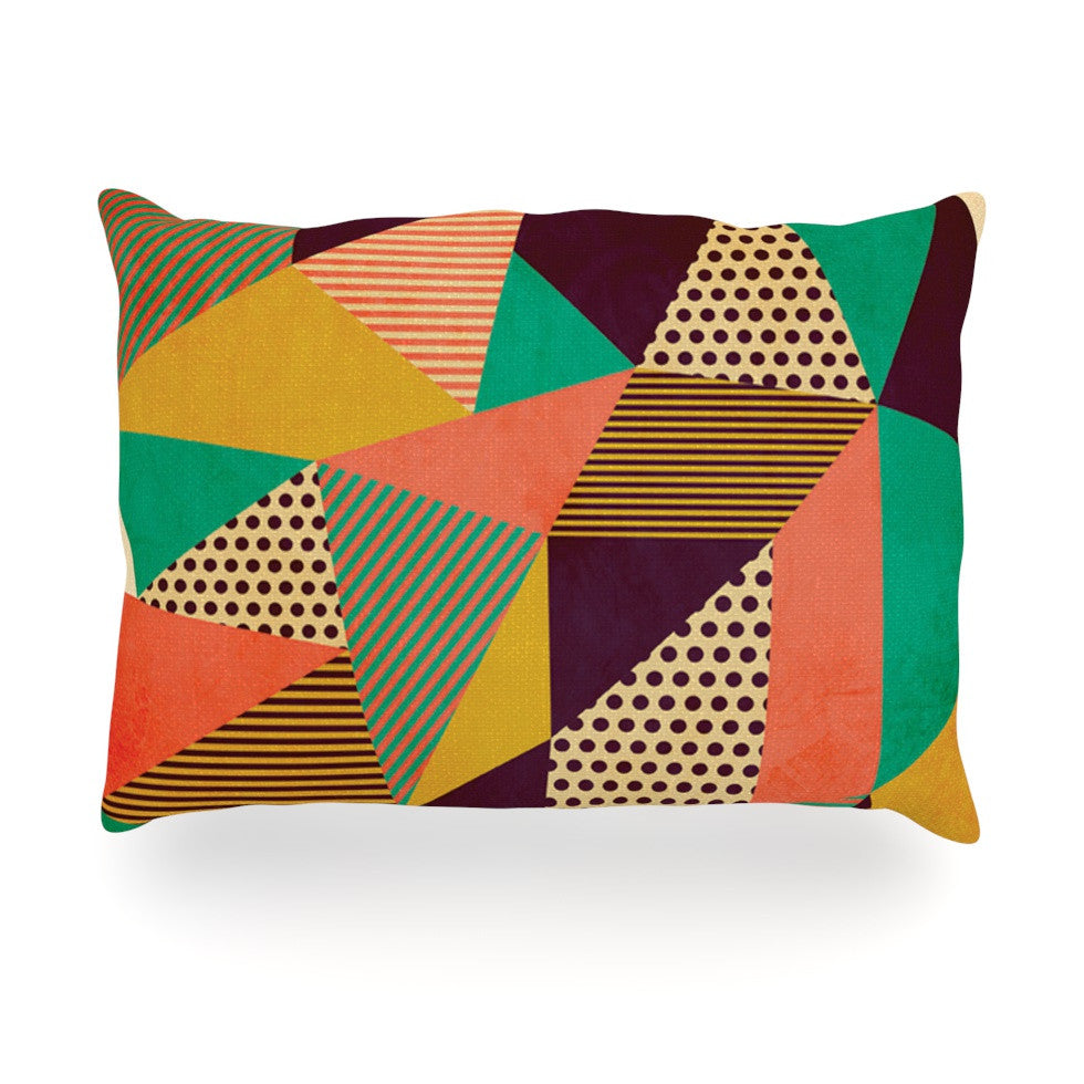 "Louise Machado ""Geometric Love II"" Orange Green Oblong Pillow - KESS InHouse"