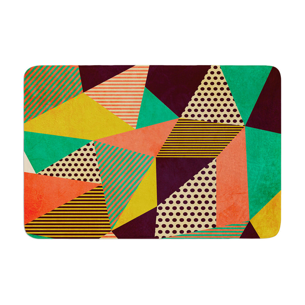 "Louise Machado ""Geometric Love II"" Orange Green Memory Foam Bath Mat - KESS InHouse"
