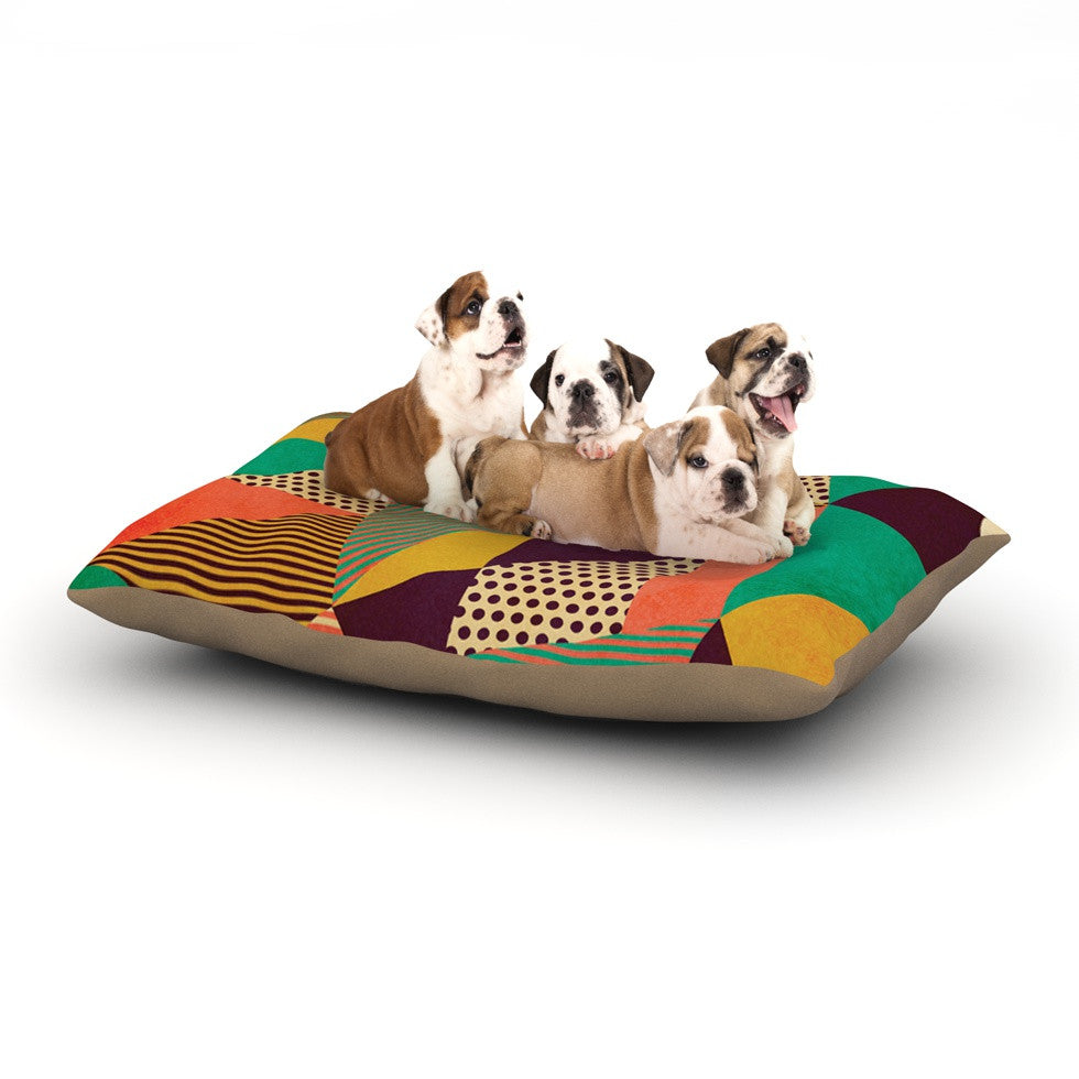 "Louise Machado ""Geometric Love II"" Orange Green Dog Bed - KESS InHouse  - 1"