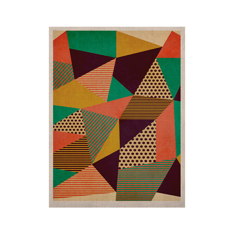 "Louise Machado ""Geometric Love II"" Orange Green KESS Naturals Canvas (Frame not Included) - KESS InHouse  - 1"