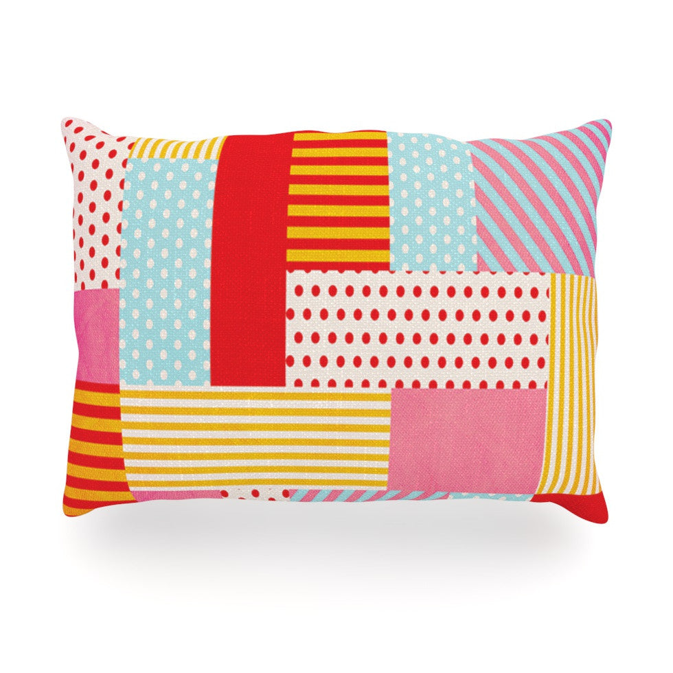 "Louise Machado ""Geometric Pop"" Red Abstract Oblong Pillow - KESS InHouse"