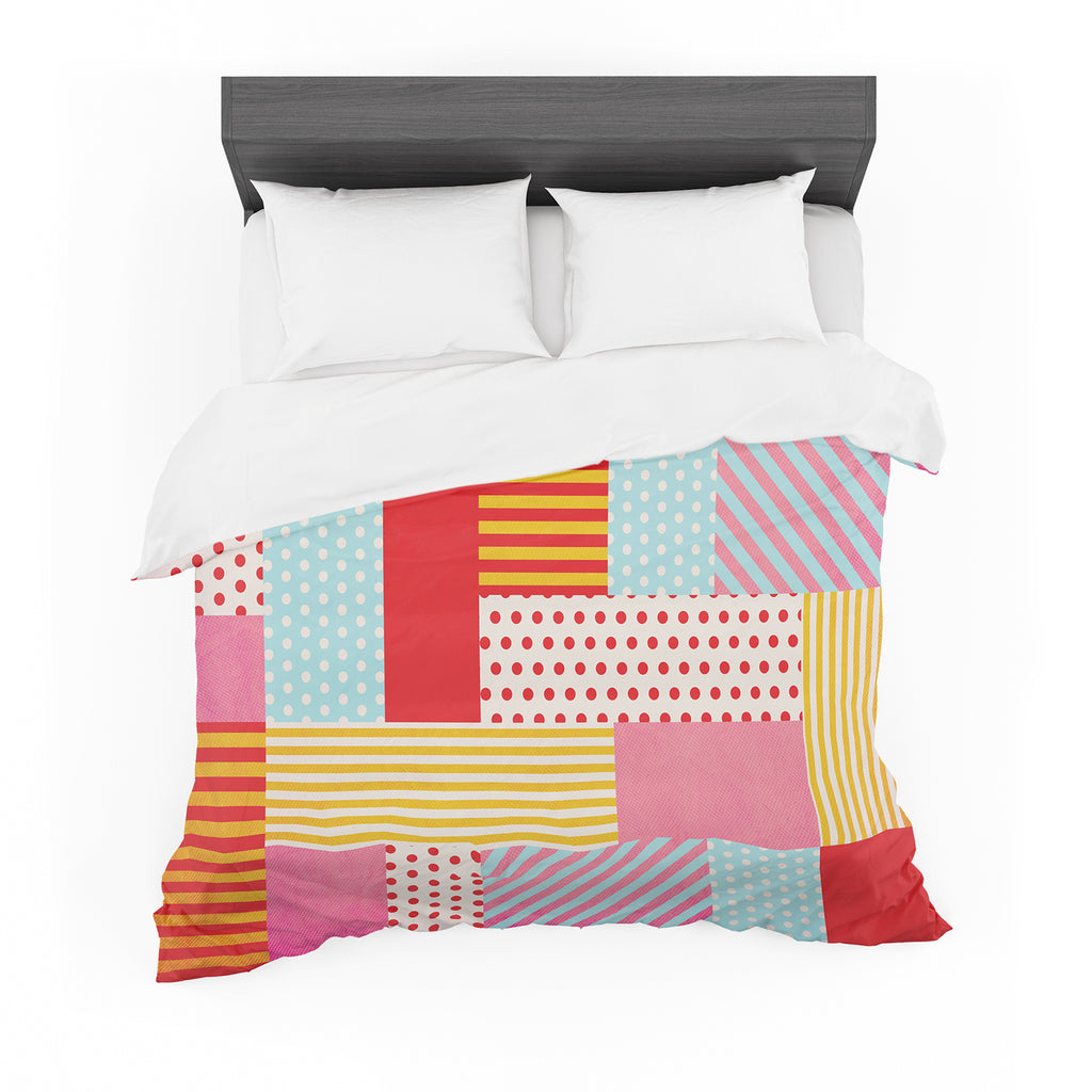 "Louise Machado ""Geometric Pop"" Red Abstract Featherweight Duvet Cover"