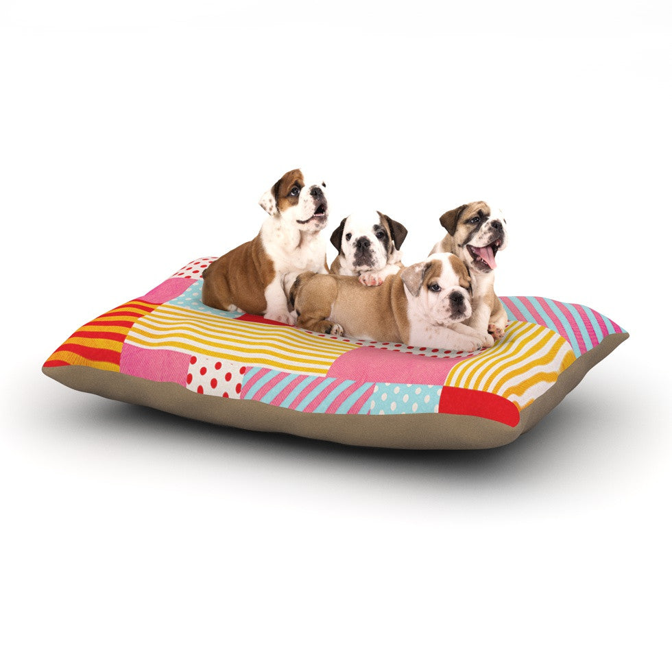 "Louise Machado ""Geometric Pop"" Red Abstract Dog Bed - KESS InHouse  - 2"