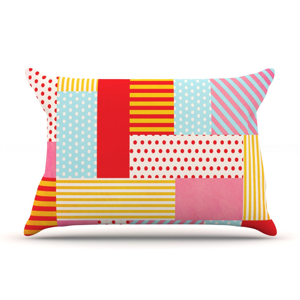 "Louise Machado ""Geometric Pop"" Red Yellow Pillow Sham - KESS InHouse"