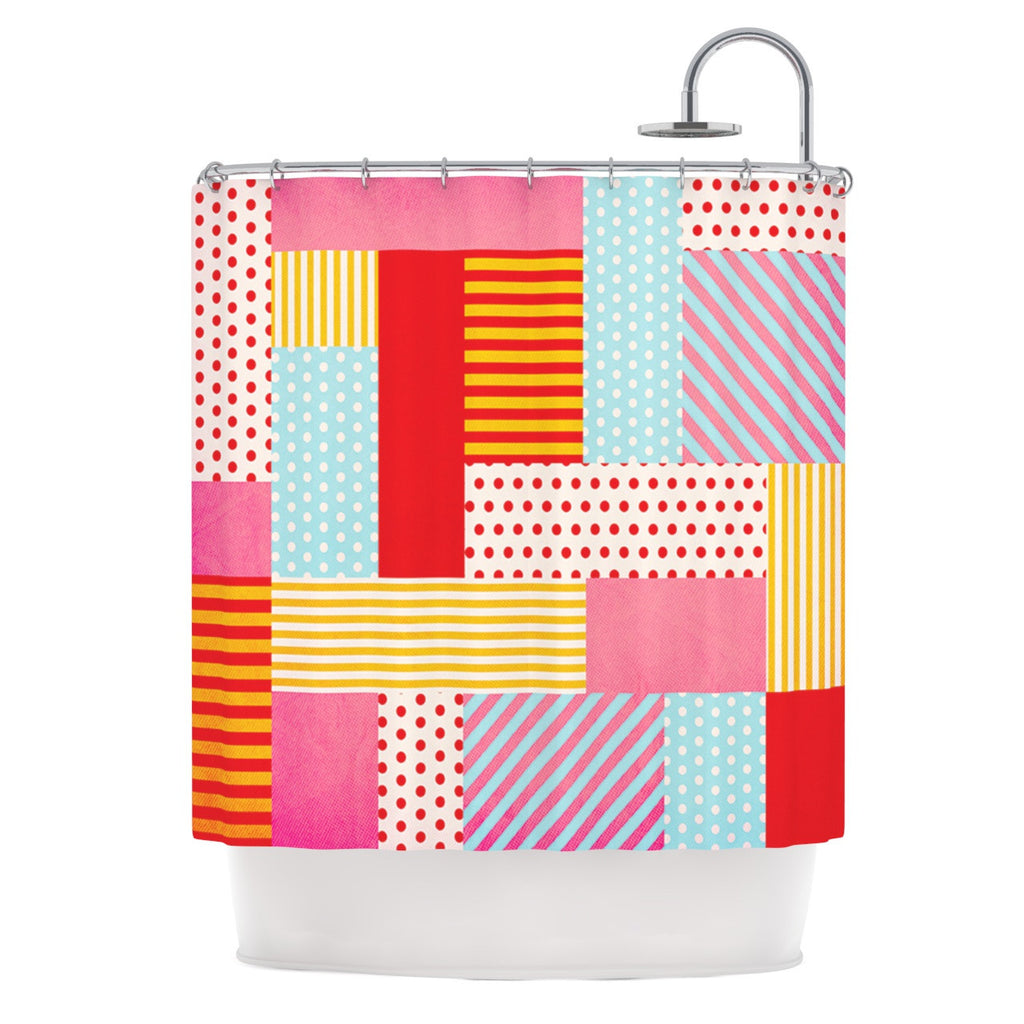 "Louise Machado ""Geometric Pop"" Red Abstract Shower Curtain - KESS InHouse"