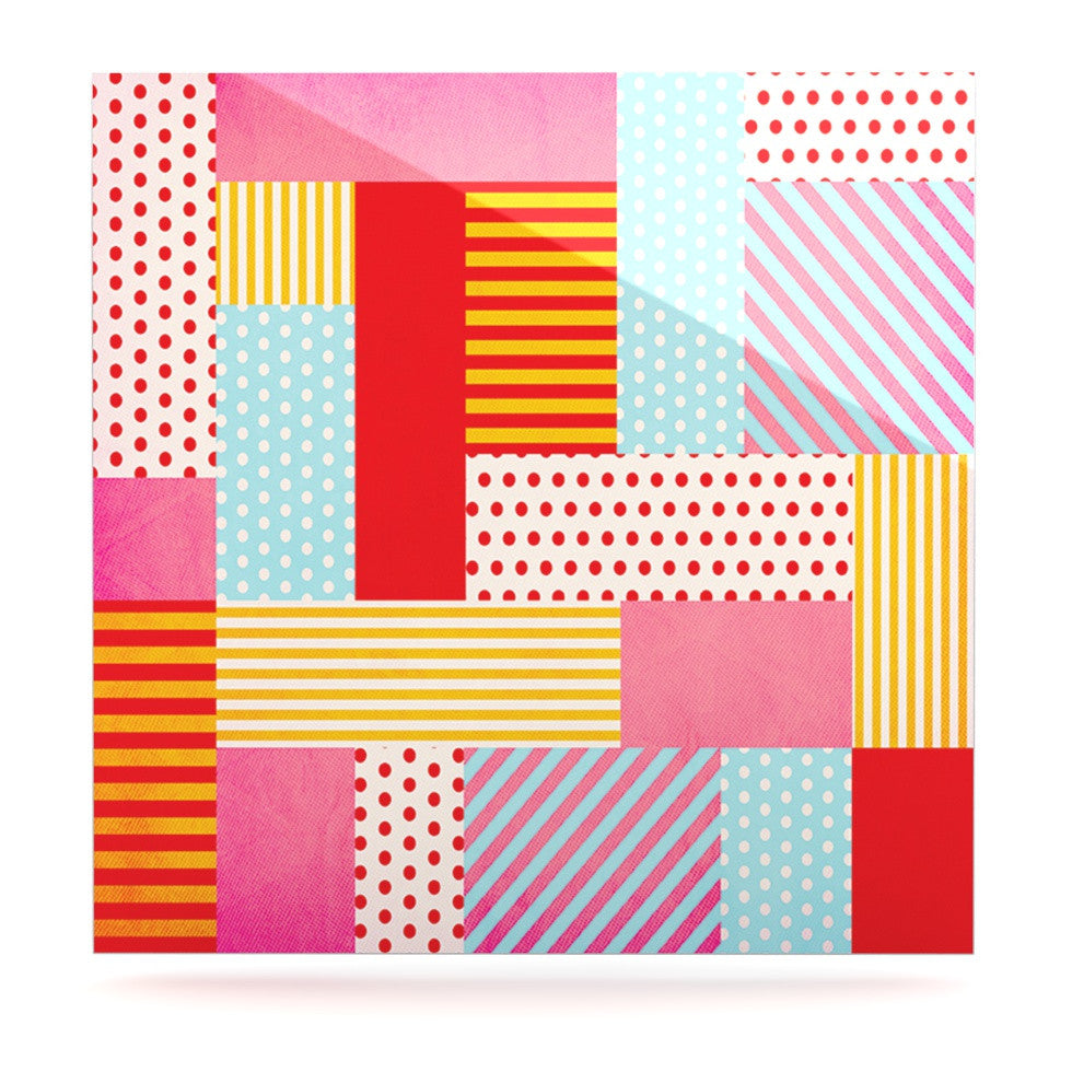 "Louise Machado ""Geometric Pop"" Red Abstract Luxe Square Panel - KESS InHouse  - 1"