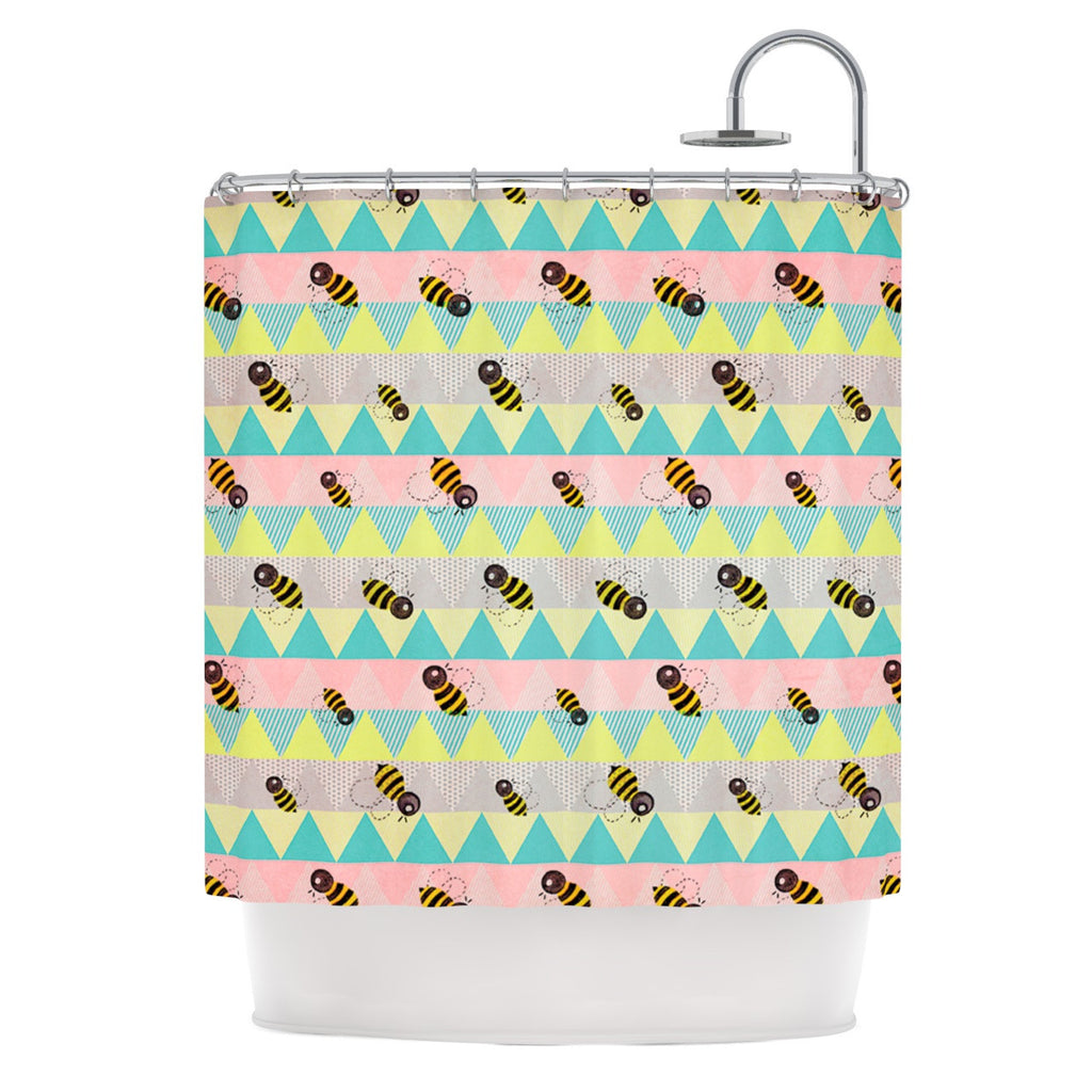 "Louise Machado ""Little Bee"" Pastel Chevron Shower Curtain - KESS InHouse"