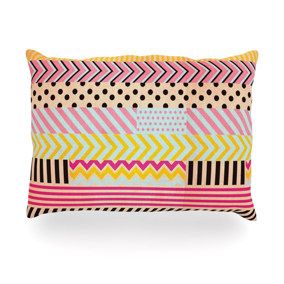 "Louise Machado ""Decorative Tape"" Red Orange Oblong Pillow - KESS InHouse"