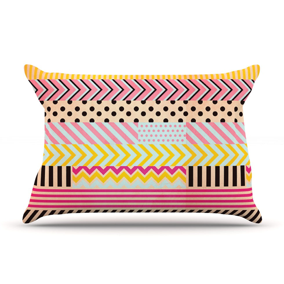 "Louise Machado ""Decorative Tape"" Red Orange Pillow Sham - KESS InHouse"